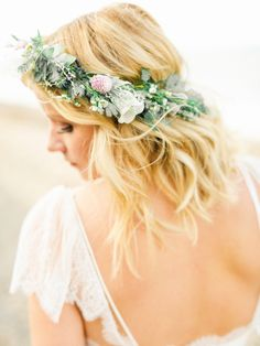 Rustic + beachy flower crown: http://www.stylemepretty.com/2016/05/12/how-to-flower-crown-for-brides/