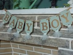 Baby Boy Banner Baby Shower Banner in Sage Green Gold and Ivory Embossed Paper Banner with Tulle Nursery Decor Baby Shower Decoration on Etsy, $14.00