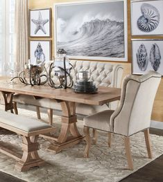 Rustic coastal dining table room
