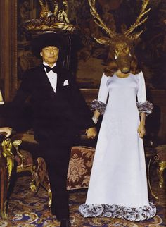 Le Baron et la Baronne Guy de Rothschild at their diner des testes surrealistes, 1972