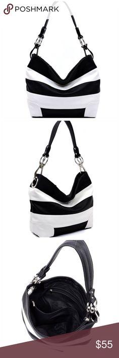 Black & White Striped Classic Bucket Bag Striped Classic Bucket Bag •Faux vegan leather •Zip top closure •2 interior slip pockets, 1 interior zipper pocket  •1 interior zipper compartment, 1 exterior zipper compartment •Silver-tone hardware •L 11.5 * H 11 * W 5 (9 D)  New from my boutique Bags