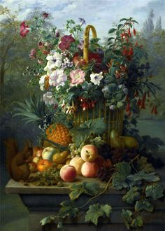 Dutch School  —  Still Life with Flowers, Fruit and a squirrel ,19th Century (840x1178)
