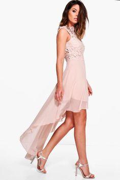 Boutique Ruby Lace Top Chiffon Dip Hem Dress