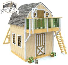 A 10x10 storage shed and playhouse all in one.  Combine a barn shed with a children's play area for your backyard.  Swing-set instructions are also included.