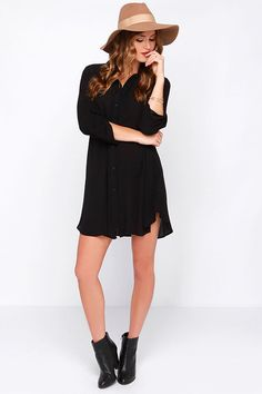 LULUS Exclusive Vacation Days Black Shirt Dress at Lulus.com!