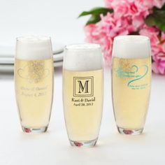 Personalized Printed Set of 24 Stemless Wedding Champagne Flutes are perfect for the big wedding day for full of countless toasts to the happy couple, and what better way to show love and support to the happy couple than with personalized stemless champagne flutes for the entire wedding party and your guests.