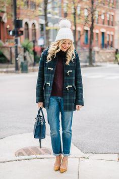 pom pom beanie plaid coat boyfriend jeans pumps turtleneck sweater
