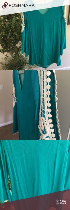 NWOT beautiful teal mini dress NWOT beautiful crochet teal mini dress sz S-L available Dresses Mini