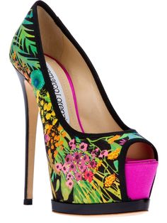 Gianmarco Lorenzi Peeptoe Platform Pump in Multicolor (black) | Lyst ♥ ♥ ♥ Such a vibrant print ♥ ♥ ♥