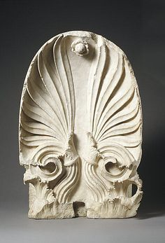 Marble Akroterion   This monument was made for the graves of Timotheos and Nikon. 87.6 cm high and 53.3 cm wide ( 34 1/2 x 21 inch.).   Probably from Attica  Greek, Late classical Period, 350 - 325 BC.