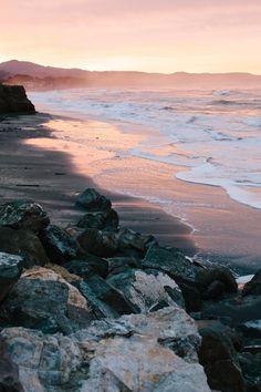 Sunrise at Surfer's Beach just north of Half Moon Bay, California // WeAreAdventure. Half Moon Bay California, California Dreamin', Northern California, Serenity Now, Land Of Enchantment, Heaven On Earth, Beautiful Beaches, Travel Usa, Travel Destinations