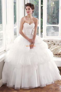 Organza Glamorös & Dramatisk Snöra upp Lyx Bröllopsklänningar