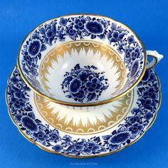 Blue Floral and Gold Desisgn Tuscan Tea Cup and Saucer Set | Antiques, Decorative Arts, Ceramics & Porcelain | eBay!