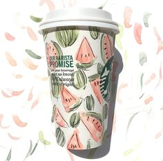 Starbucks cup decorated by Riley Sheehey with watercolors Starbucks Cup Art, Cup Decorating, Coffee Break, Watercolors, Beverages, Projects To Try, Cups, Drawings, Tableware