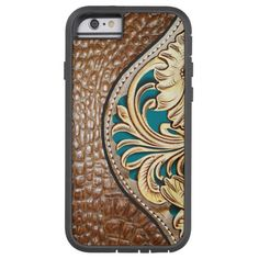 Western Style Alligator Floral Tooled Turquoise Tough Xtreme iPhone 6 Case http://www.zazzle.com/western_style_alligator_floral_tooled_turquoise_case-256028495455375702?rf=238675983783752015