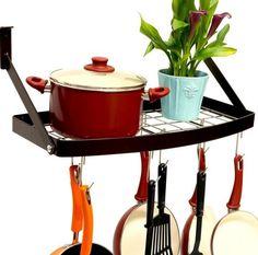 Wall Mount Pot Rack Pan Hanger Cookware Storage Pots Pans Kitchen Organizer New #DecoBros