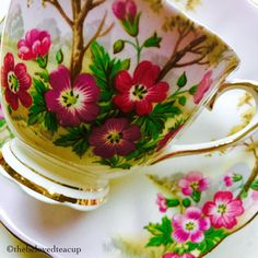 Your place to buy and sell all things handmade Tea For One, My Cup Of Tea, Tea Cup Saucer, Tea Cups, Wild Geranium, Tea Party Setting, Teapots And Cups, Flower Tea, Plate Design