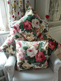 Sanderson Cushions- Love the Big ole Rose fabric.