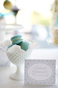 #Macarons in #Tiffany #blue with #milk #glass