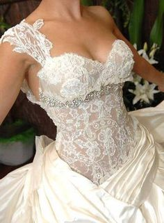 Beautiful lace bodice wedding gown! Love it!...fill in the lace
