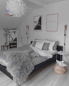 Grey Bedroom Decor, Room Design Bedroom, Stylish Bedroom, Room Ideas Bedroom, Cute Bedroom Ideas, Home Bedroom, Grey Bedrooms, Silver Bedroom, Budget Bedroom
