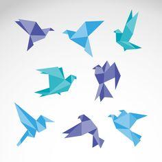 Color Origami Dove Vector