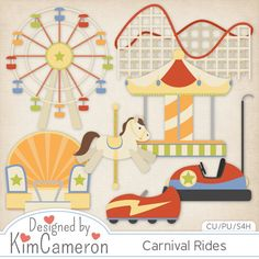 Carnival Fair Amusement Rides - Layered PSD Templates with PNG by Kim Cameron for Digital Scrapbooking #CUDigitals