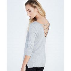 Zip Pocket Tee With Crisscross Back ($15) ❤ liked on Polyvore featuring tops, t-shirts, heather gray, 3/4 sleeve t shirt, wet seal tops, scoop neck top, 3/4 sleeve tops and 3/4 sleeve tee