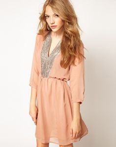 $44 French Connection Rachel Nude Sequin Dress (US 8) | eBay