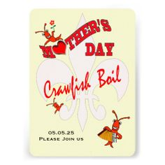 Cute Mother Day Crawfish Boil Invitation #mother #crawfish #crawfishboil