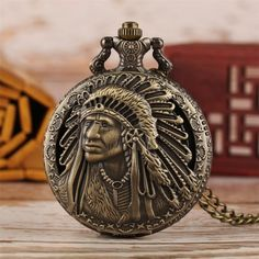 Pocket Watch Mens, Western Shop, Quartz Pocket Watch, Wish Shopping, American Indians, Indian Fashion, Bronze, Watches, Chain
