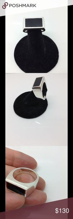 Gucci, black onyx inlay, unisex wide band ring Firm price. See all photos. Size 9, sizable 2 sizes tighter or looser Gucci Jewelry Rings