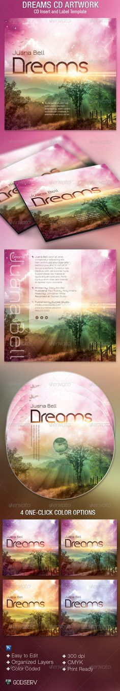 The Dreams CD Artwork Template is customized for any music or poetry recording artists that need a modern scenic artwork. It can be used for albums, audio books, dj's mixes, iTunes sales, demos, and lots more. You can change colors easily by editing the included color options. $6.00