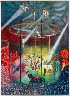 """Hans Körnig war vom Varieté begeistert. """"Im Zirkus"""", Öl auf Leinwand, 1960"""
