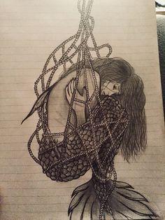 Mermaid or siren caught in a fishing net while deep sea fishing. She is not amus. - Mermaid or siren caught in a fishing net while deep sea fishing. She is not amus Mermaid tattoo - Skull Rose Tattoos, Body Art Tattoos, Small Tattoos, Sleeve Tattoos, Cool Tattoos, Siren Tattoo, Dark Tattoo, Dark Mermaid, Mermaid Art