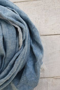 Men blue linen scarf pure linen scarf for women by Linaraart