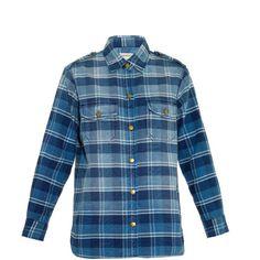 CURRENT/ELLIOTT The Perfect plaid cotton shirt featuring polyvore, fashion, clothing, tops, navy multi, slim shirt, blue top, boxy top, tartan shirt and blue plaid shirt