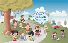 Cute happy cartoon kids playing in green park by Denis Cristo, via Shutterstock Boys Wallpaper, Nursery Wallpaper, Happy Cartoon, Cartoon Kids, Free Android Games, Free Games, Street Art Graffiti, Fantasy World, Worlds Of Fun