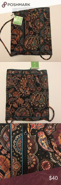"Vera Bradley Backsack in Kensington, NWT Vera Bradley Backsack, Zipper Pocket in the front and Small Pocket inside, drawstring closure, dimension: 14.5""x13"", Pattern: Kensington Vera Bradley Bags Backpacks"