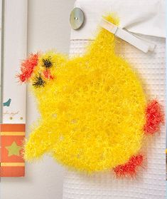 Chickie scrubby - crochet your own Scrubby cloth with Red Heart Yarns Scrubby Sparkle - DIY kitchen - free crochet pattern All Free Crochet, Cute Crochet, Crochet Yarn, Easter Crochet, Scrubby Yarn, Crochet Scrubbies, Dishcloth Crochet, Joann Crafts, Joanns Fabric And Crafts