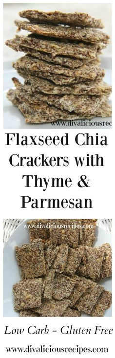 Flaxseed crackers with chia seeds that are flavoured with thyme and Parmesan cheese. A tasty and crisp cracker. Low carb and gluten free crackers. Recipes- http://divaliciousrecipes.com/2016/01/27/flaxseed-chia-crackers-with-thyme-and-parmesan/