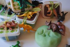 "Dino Playdough for Party Favor Bag. Kids can make ""fossils"" with it. Too cute!"