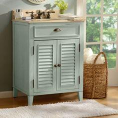 Light Blue Shutter Vanity Sink, 26in.   Kirklands