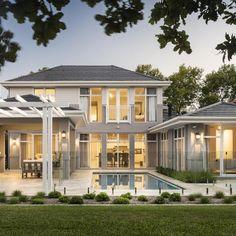 FYI: Hamptons Custom Home in Applecross – Oswald Homes Patio Interior, Interior Exterior, Hamptons Style Homes, The Hamptons, Custom Home Designs, Custom Homes, Villa, First Home Buyer, American Houses