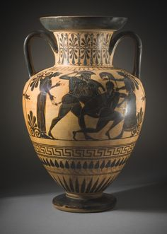 Black-Figure Neck-Amphora with (A) Recovery of Helen by Menelaos (?) and (B) Battle Scene.  Greece, Attica, 520 B.C.