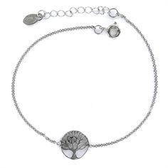 f4d2f1b7d554 Pulsera de plata rodiada Arbol de la Vida calado de 10 mm con cadena forzada