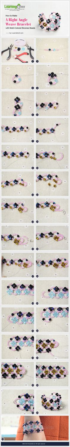 How to Make A Right Angle Weave Bracelet with Multi-Colored Bicones Beads