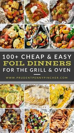 These foil pack dinners are perfect for busy weeknights for a cheap, easy and flavorful meal. There are recipes for the grill, oven and campfire. 100 Cheap and Easy Foil Pack Dinners for the Grill and Oven Tin Foil Dinners, Foil Packet Dinners, Foil Pack Meals, Cheap Dinners, Easy Dinners, Dinners On The Grill, Camping Foil Dinners, Campfire Meals Foil, Grill Meals
