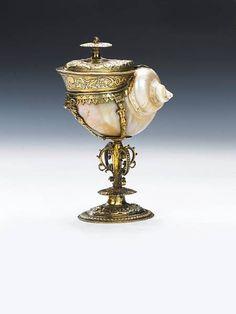 "silver-gilt mounted ""turban"" shell nautilus cup"