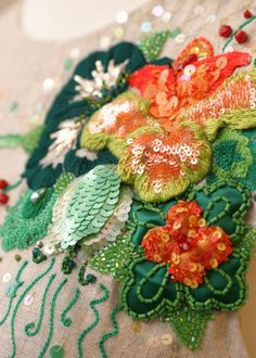 Detail of embroidery with sequins and beading. Photo courtesy The Alexanders